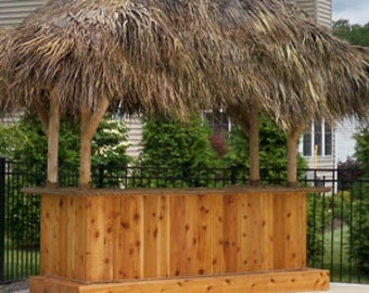 TIKI BAR - 10' x 4'  Custom Red Cedar Tiki Kev Tiki Bar