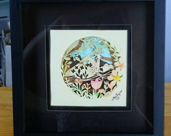 3-D Paper cutting in shadowbox frame