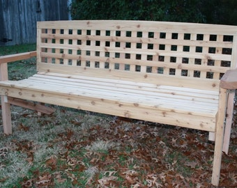 Brand New 5 Foot Lattice Style Cedar Bench - Free Shipping