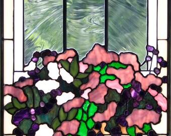 Window box 2 stained glass panel window purple pink for 14x27 window