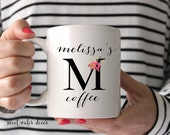 Floral Monogram Coffee Mug Custom Monogram Coffee Mug Printed Ceramic Mug - Coffee Cup - Tea Cup - Calligraphy Typography