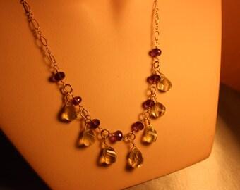 Amethyst - Lemon Quartz Necklace, Hand Made