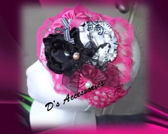 Hot Pink, Black and White Crochet Headband