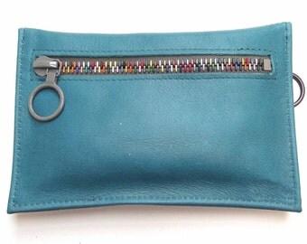 Dark Turquoise Leather Zipper Purse