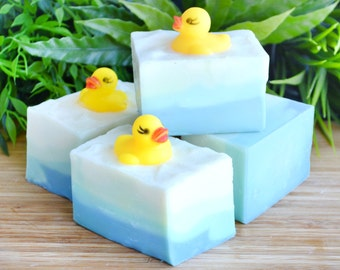Rubber Duck Soap - Bath Toys Soap - Kid's Party Soap Favors - Raspberries - Peach - Soap For Children - Fruity Soap - 7 oz - Happy Duckling
