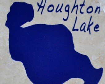 "Set of 4 ""Houghton Lake"" Coasters. Free Shipping.  Ordering ""1"" is one set of 4 coasters"