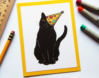Black Cat with a Party Hat Birthday Card