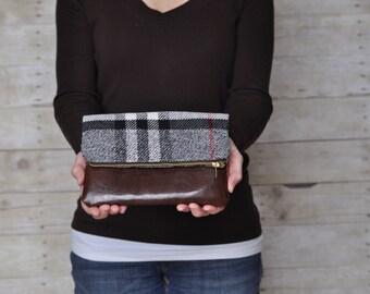 Wool plaid clutch, fold over clutch, wool plaid fold over clutch, faux leather fold over clutch, clutch, zipper clutch for women