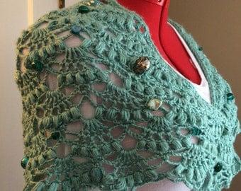 Unique beaded lace shawl, crochet.