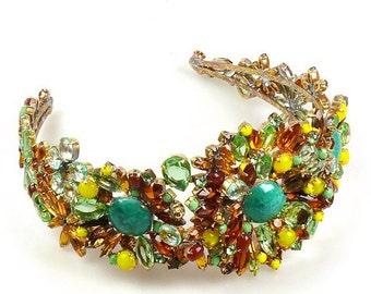 Stunning Large Czech Emerald Green and Amber Crystal Headband
