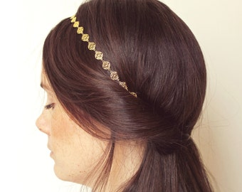 "String with raw brass rosettes headband ""Sophie"" Pemberley jewelry / headband / Head jewelry chain / Headband brass / Bohemia"