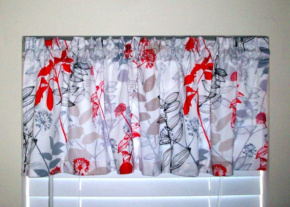 Items Similar To Custom Boutique Valance / Window Treatment / Waverly Red Black White Floral