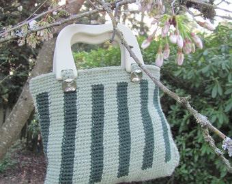 Handmade Crochet Handbag - Deep Green Stripe on Pale Green