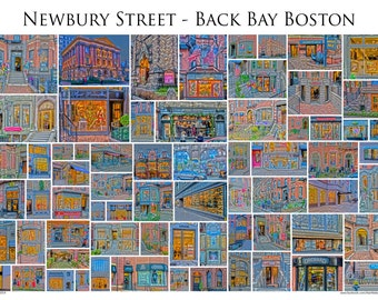"Newbury Street - Back Bay Boston - A framed 13x19"" Photographic Collage of Newbury Street store fronts"