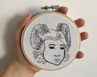 Demon Hand Embroidery on Linen