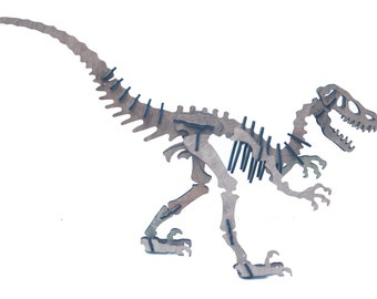 3D Dinosaur Puzzle Velocirapto, wooden, Jurassic inspired