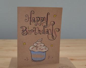 Handmade Greeting Card, CUPCAKE Birthday card, Illustrated card, Hand drawn card, art card, blank card, Kraft card, blank card, cupcake card