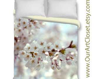 Cherry blossom art duvet cover, king queen duvet cover & shams, cottage chic, boho, floral duvet cover, pastel floral bedding, ivory cream