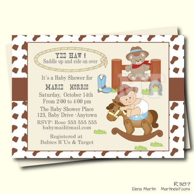 western baby shower invitation cowboy baby shower invite