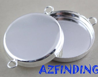 50pcs Silver Plated Bezel Blanks 25mm Round Silver High Wall Bezel Cups 2 links Cabochons Bezel Settings-bezel cups