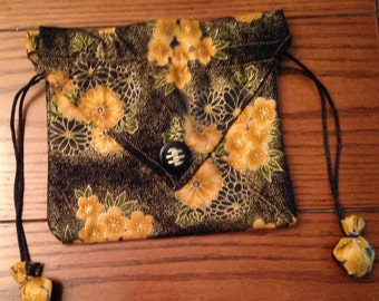Gold and Black Oriental Floral Small Purse with Drawstring