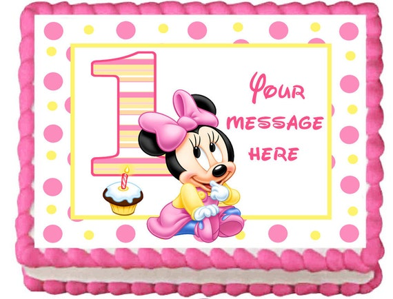Minnie Mouse 1st Birthday Sheet Cake Baby Minnie Mouse 1st Birthday