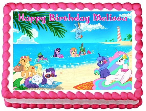 Edible Cake Decorations Beach : MY LITTLE PONY Beach Edible image Cake by SweetiesCakeToppers
