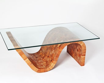 Modern Coffee Table - Reclaimed Wood Coffee Table - Wood and Glass Coffee Table - Origin Coffee Table