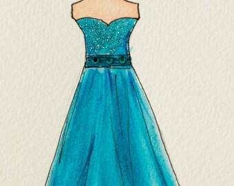 "Illustration, Original artwork, Original Illustration, Fashion Illustration, ""Cerulean Ball Gown"""