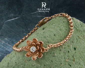 Flower Bracelet with Desert Diamond, Sterling Silver, Rose Gold Plated, BR009C