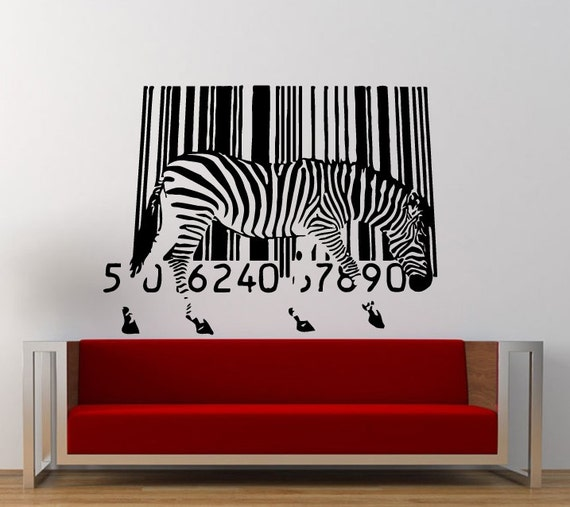 Melting Zebra Bar Code Wall Decal Sticker Vinyl Mural Leaving