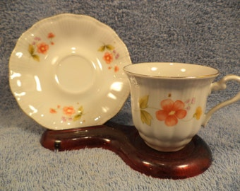 CUP AND SAUCER Floral Decoration Made In Poland