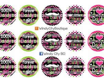 Daddy's Girl Bottle Cap Images- Pink, Lime, and Black