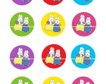 MAX and RUBY BIRTHDAY-  2 Inch Cupcake Topper Digital Image-8.5 x 11 Instant Download
