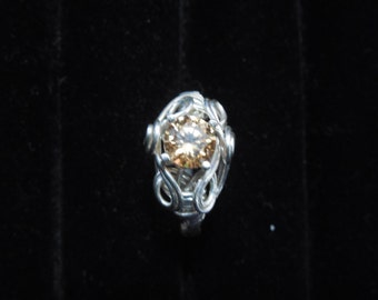 Champagne CZ ring in sterling silver wire wrap and setting
