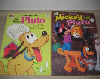 SALE !!! 2 Vintage Walt Disney Coloring Books - 1973 Mickey and Pluto - 1981 Pluto And The Lost Bone is Unused
