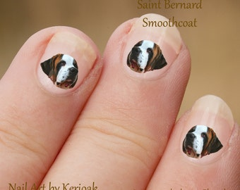 Saint Bernard Nail Art,  Dog Nail Art Stickers, St Bernard Nail Stickers, Fingernail Stickers,  Decals