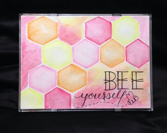 Bee Yourself, 5x7 watercolour painting
