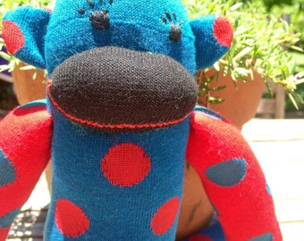 Blue and Red Spotted Sock Monkey