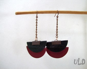 Black and Red earrings,Leather earrings,Leather handmade jewelry