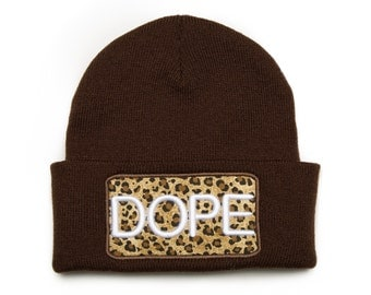 Dope Hat 3D Embroidered Cheetah Pattern Beanie