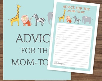 Advice for the Mom-to-Be Safari Animals / Jungle Zoo Animals Gender Neutral Baby Shower Game Card Sign / Printable Digital INSTANT DOWNLOAD