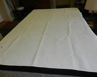 Exceptional White Linen Tablecloth With Greek Key Pattern