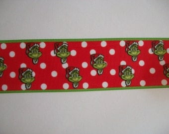 "1.5"" Christmas Grinch grosgrain ribbon 1 to 5 yards"