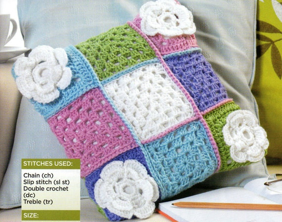 granny square cushion dk crochet pattern 99p by Heritageknitting1