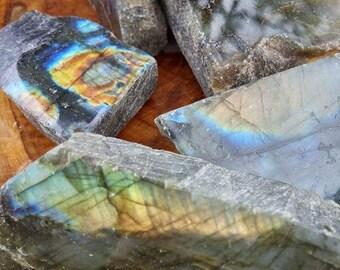 SALE Rough Labradorite Stone - Natural Blue Shine - Rainbow Labradorite