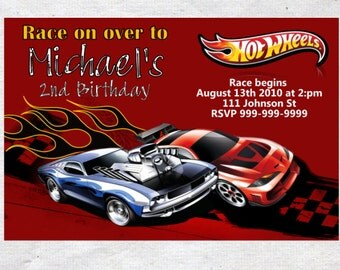 Hot Wheels Birthday Invitation Chalkboard Chevron Pattern Hot Wheels Invitation Hot Wheels Invite
