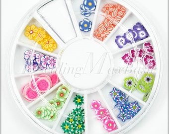 120 Mixed 12 Style Flower Polymer Clay Fimo Slice 3D Nail Art Decoration NA0003