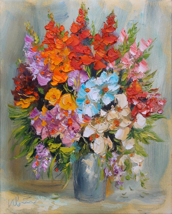 Original Flower Oil Painting Impasto Painting Canvas By