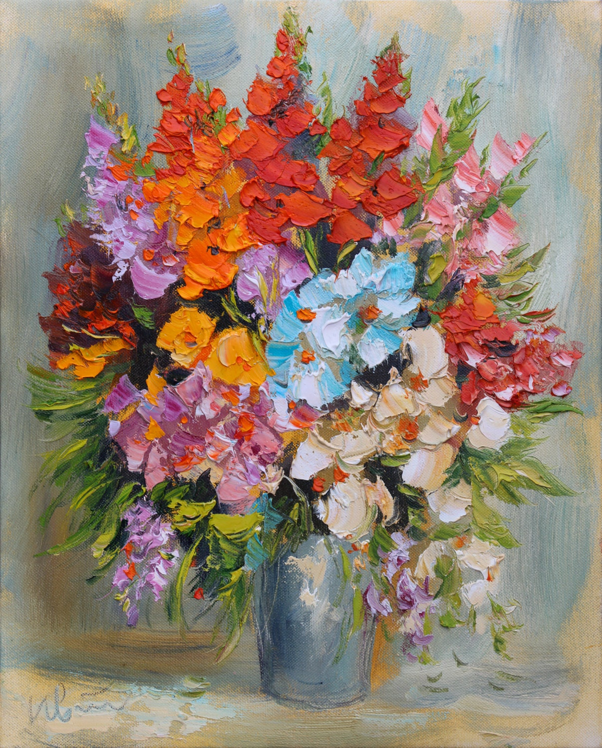 Original flower oil painting impasto painting canvas wall for Flower paintings on canvas